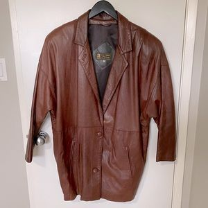 Vtg First Choice Leathers oversized leather trench